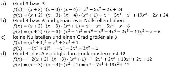Ganzrationale Funktionen Lösungen zum Aufgabensatz 8 Blatt 2/2 Fortgeschritten Bild 1/© by www.fit-in-mathe-online.de