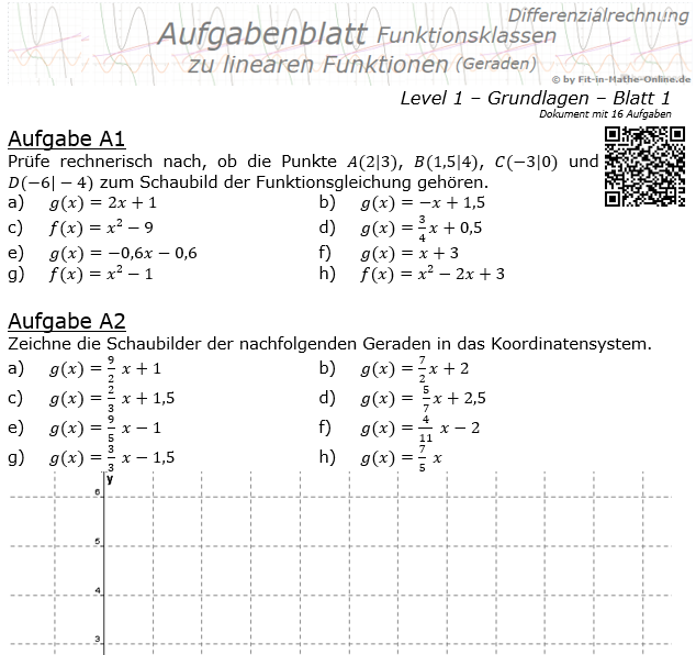 Lineare Funktionen (Geraden) Aufgabenblatt 1/1 / © by Fit-in-Mathe-Online.de