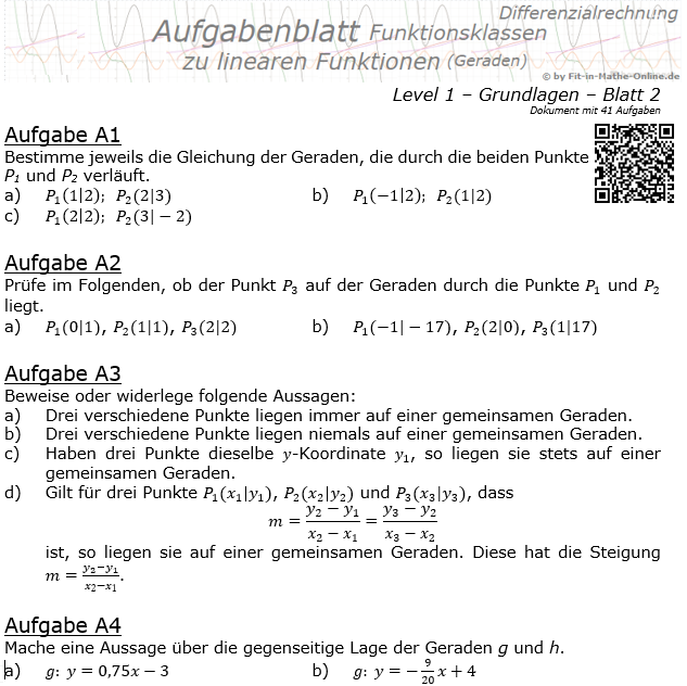 Lineare Funktionen (Geraden) Aufgabenblatt 1/2 / © by Fit-in-Mathe-Online.de