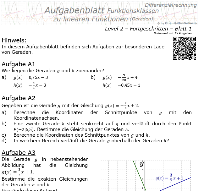 Lineare Funktionen (Geraden) Aufgabenblatt 2/1 / © by Fit-in-Mathe-Online.de