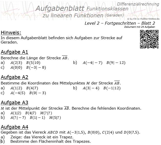 Lineare Funktionen (Strecken auf Geraden) Aufgabenblatt 2/2 / © by Fit-in-Mathe-Online.de