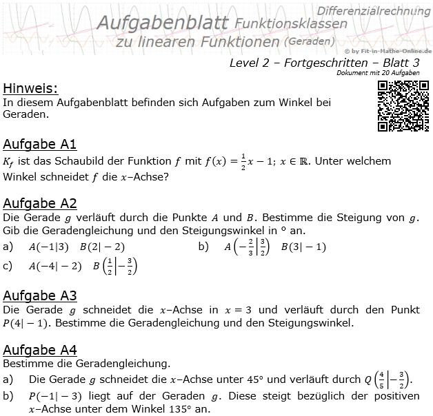 Lineare Funktionen Geraden und Schnittwinkel Aufgabenblatt 2/3 / © by Fit-in-Mathe-Online.de