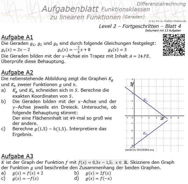 Lineare Funktionen (Geraden) Aufgabenblatt 2/4 / © by Fit-in-Mathe-Online.de
