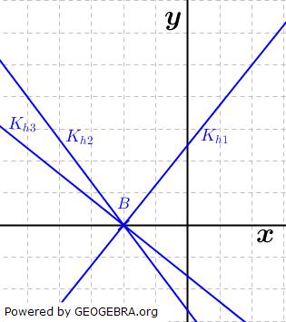 Wähle eine geeignete Achseneinteilung und bestimme aus der Abbildung die Gerade, die durch den Punkt B verläuft und g senkrecht schneidet. Begründe deine Wahl. (Grafik A240701 im Aufgabensatz 7 Blatt 2/4 Fortgeschritten zu linearen Funktionen in den Funktionsklassen) /© by www.fit-in-mathe-online.de)