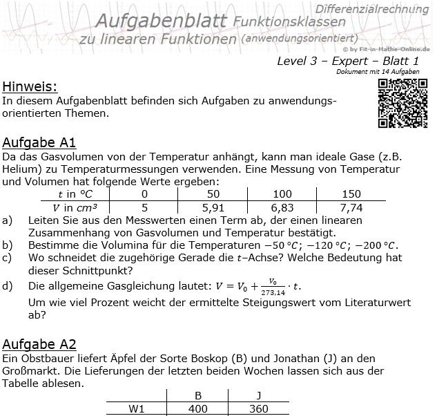 Lineare Funktionen (anwendungsorientiert) Aufgabenblatt 3/1 / © by Fit-in-Mathe-Online.de
