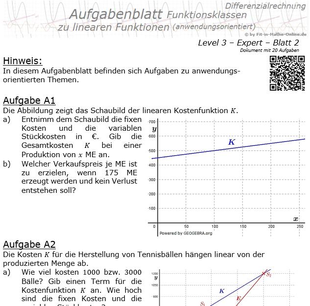 Lineare Funktionen (anwendungsorientiert) Aufgabenblatt 3/2 / © by Fit-in-Mathe-Online.de