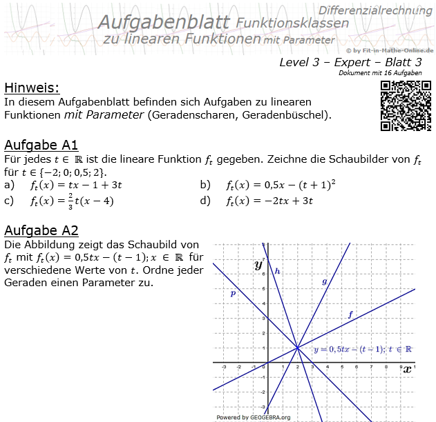 Lineare Funktionen mit Parameter Aufgabenblatt 3/3 / © by Fit-in-Mathe-Online.de