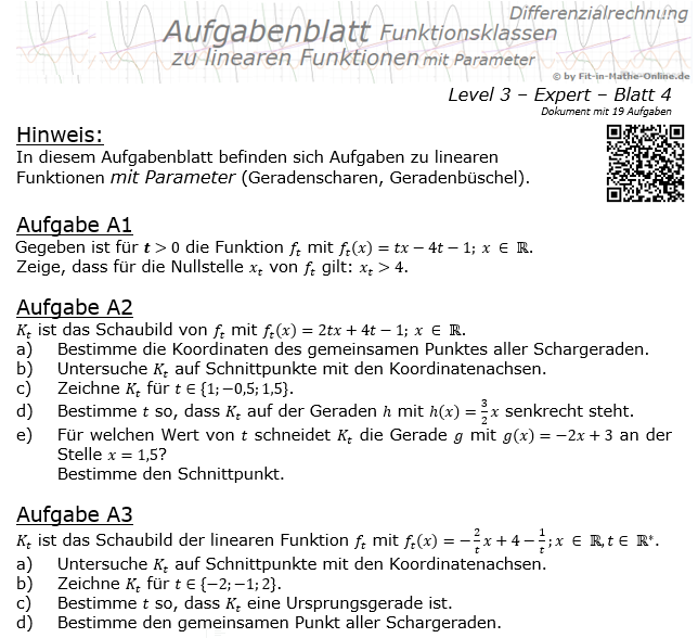 Lineare Funktionen mit Parameter Aufgabenblatt 3/4 / © by Fit-in-Mathe-Online.de