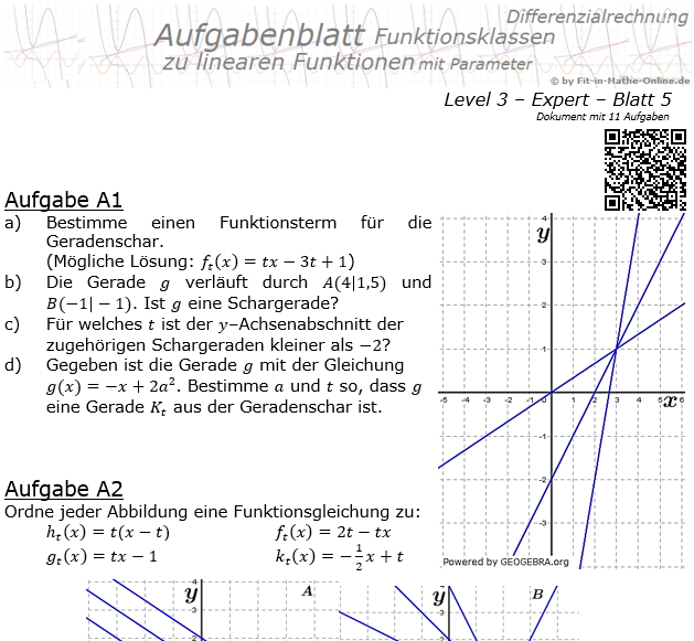 Lineare Funktionen (Geraden) Aufgabenblatt 3/5 / © by Fit-in-Mathe-Online.de