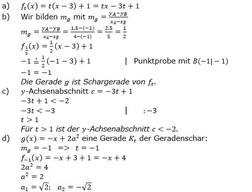 Lineare Funktionen der Funktionsklassen. Lösungen zum Aufgabensatz 1 Blatt 3/5 Expert Bild1 /© by www.fit-in-mathe-online.de)