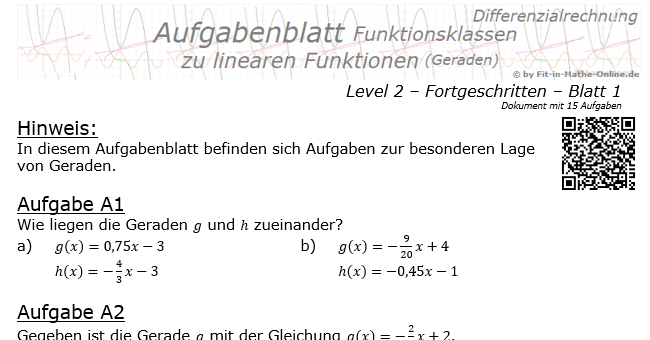 lineare funktionen geraden 2 1 aufgaben fit in mathe. Black Bedroom Furniture Sets. Home Design Ideas
