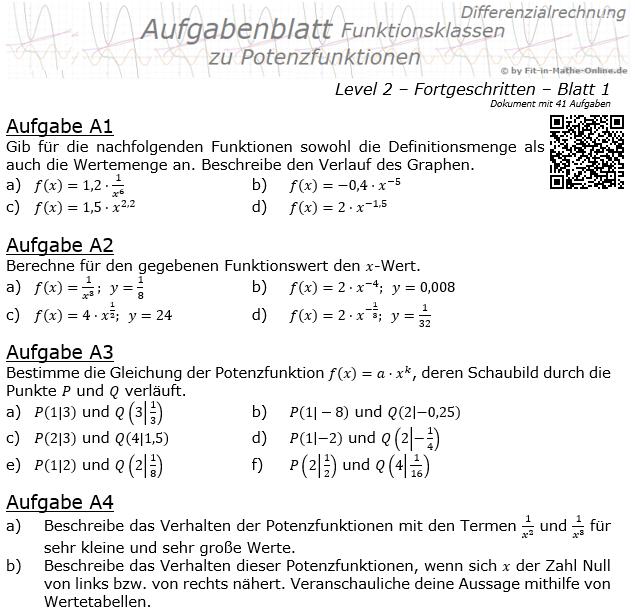 Potenzfunktionen der Funktionsklassen Aufgabenblatt 2/1 / © by Fit-in-Mathe-Online.de