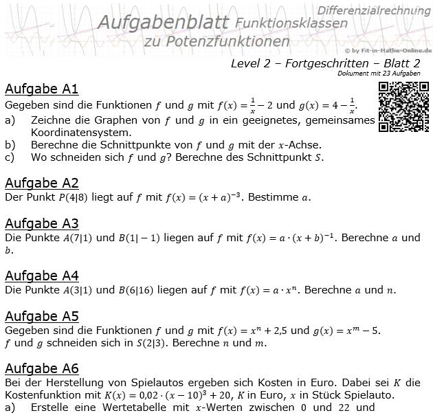 Potenzfunktionen der Funktionsklassen Aufgabenblatt 2/2 / © by Fit-in-Mathe-Online.de