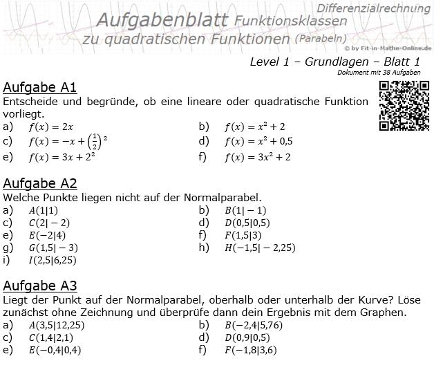 Quadratische Funktionen (Parabeln) Aufgabenblatt 1/1 / © by Fit-in-Mathe-Online.de