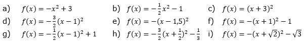 Beschreibe, wie der Graph der Funktion  aus der Normalparabel entsteht. Skizziere die Parabel. (Grafik A110601 im Aufgabensatz 6 Blatt 1/1 Grundlagen zu quadratischen Funktionen in den Funktionsklassen /© by www.fit-in-mathe-online.de)