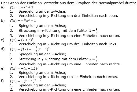 Quadratische Funktionen der Funktionsklassen. Lösungen zum Aufgabensatz 06 Blatt 1/1 Grundlagen Bild 1 /© by www.fit-in-mathe-online.de