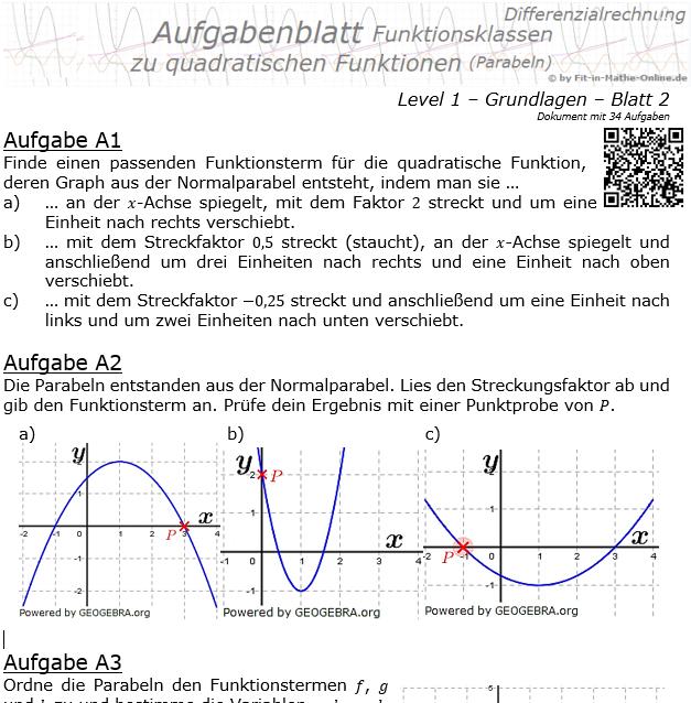 Quadratische Funktionen (Parabeln) Aufgabenblatt 1/2 / © by Fit-in-Mathe-Online.de