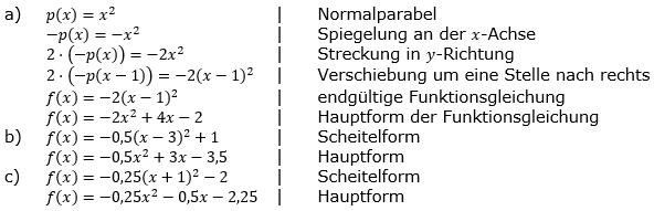 Quadratische Funktionen (Parabelön) der Funktionsklassen. Lösungen zum Aufgabensatz 01 Blatt 1/2 Grundlagen Bild 1 /© by www.fit-in-mathe-online.de