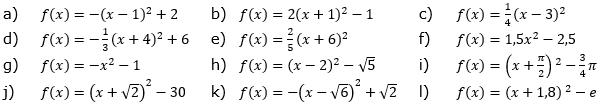 Gib den Scheitel an. In welche Richtung ist die Parabel geöffnet? (Grafik A120501 im Aufgabensatz 5 Blatt 1/2 Grundlagen zu quadratischen Funktionen (Parabeln) in den Funktionsklassen) /© by www.fit-in-mathe-online.de)
