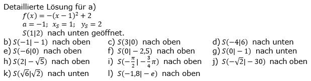 Quadratische Funktionen (Parabelön) der Funktionsklassen. Lösungen zum Aufgabensatz 05 Blatt 1/2 Grundlagen Bild 1 /© by www.fit-in-mathe-online.de