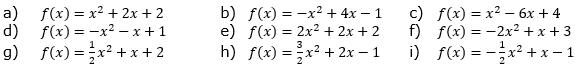 Berechne die Scheitelkoordinaten und gib die Scheitelform an. (Grafik A120601 im Aufgabensatz 6 Blatt 1/2 Grundlagen zu quadratischen Funktionen (Parabeln) in den Funktionsklassen) /© by www.fit-in-mathe-online.de)
