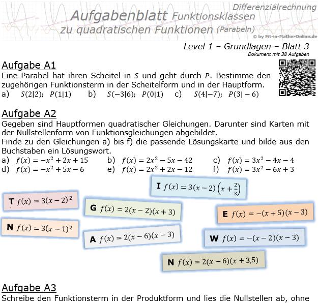 Quadratische Funktionen (Parabeln) Aufgabenblatt 1/3 / © by Fit-in-Mathe-Online.de