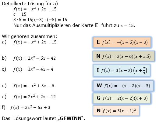 Quadratische Funktionen (Parabelön) der Funktionsklassen. Lösungen zum Aufgabensatz 02 Blatt 1/3 Grundlagen Bild 1 /© by www.fit-in-mathe-online.de