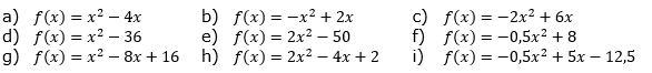 Schreibe den Funktionsterm in der Produktform und lies die Nullstellen ab, ohne zu rechnen. (Grafik A130301 im Aufgabensatz 3 Blatt 1/3 Grundlagen zu quadratischen Funktionen (Parabeln) in den Funktionsklassen) /© by www.fit-in-mathe-online.de)