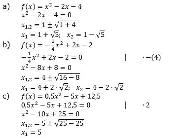 Quadratische Funktionen (Parabelön) der Funktionsklassen. Lösungen zum Aufgabensatz 05 Blatt 1/3 Grundlagen Bild 1 /© by www.fit-in-mathe-online.de