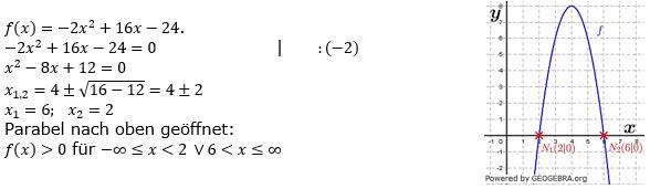 Quadratische Funktionen (Parabelön) der Funktionsklassen. Lösungen zum Aufgabensatz 07 Blatt 1/3 Grundlagen Bild 1 /© by www.fit-in-mathe-online.de
