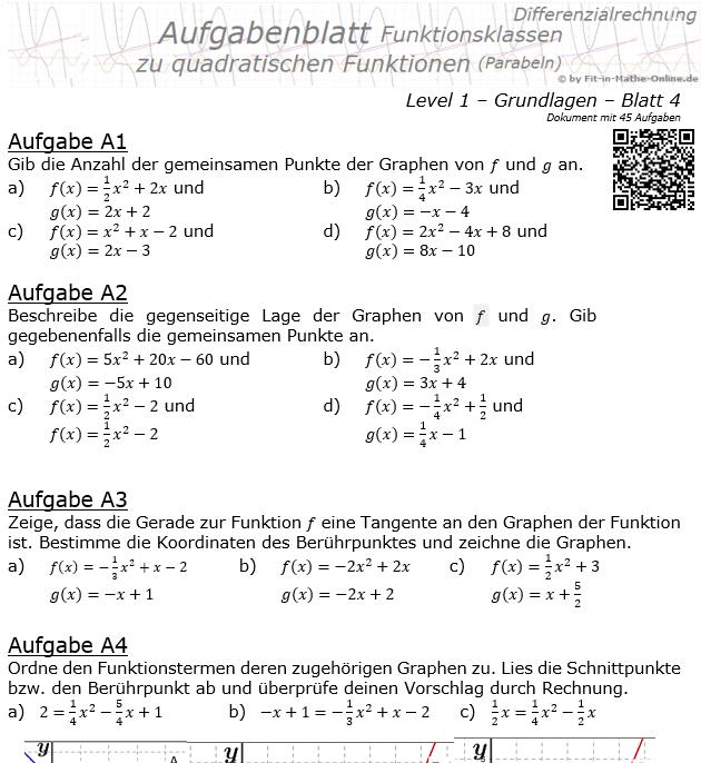 Quadratische Funktionen (Parabeln) Aufgabenblatt 1/4 / © by Fit-in-Mathe-Online.de
