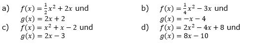 Gib die Anzahl der gemeinsamen Punkte der Graphen von f und g an. (Grafik A140101 im Aufgabensatz 1 Blatt 1/4 Grundlagen zu quadratischen Funktionen in den Funktionsklassen /© by www.fit-in-mathe-online.de)