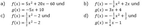 Beschreibe die gegenseitige Lage der Graphen von f und g. Gib gegebenenfalls die gemeinsamen Punkte an. (Grafik A140201 im Aufgabensatz 2 Blatt 1/4 Grundlagen zu quadratischen Funktionen in den Funktionsklassen /© by www.fit-in-mathe-online.de)