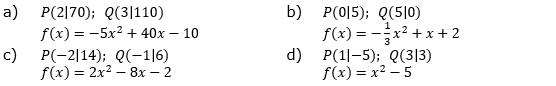 Der Graph der linearen Funktion g geht durch P und Q. Gib den Funktionsterm von  an g und zeige, dass der Graph von g eine Tangente an den Graphen von f ist. (Grafik A140601 im Aufgabensatz 6 Blatt 1/4 Grundlagen zu quadratischen Funktionen in den Funktionsklassen /© by www.fit-in-mathe-online.de)