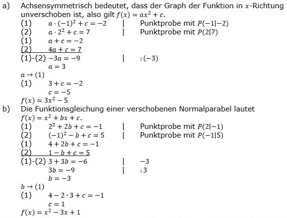 Quadratische Funktionen (Parabeln) der Funktionsklassen. Lösungen zum Aufgabensatz 07 Blatt 1/4 Grundlagen Bild 1 /© by www.fit-in-mathe-online.de