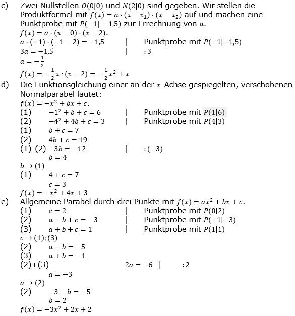 Quadratische Funktionen (Parabeln) der Funktionsklassen. Lösungen zum Aufgabensatz 07 Blatt 1/4 Grundlagen Bild 2 /© by www.fit-in-mathe-online.de