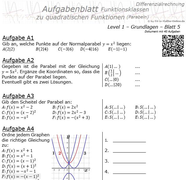 Quadratische Funktionen (Parabeln) Aufgabenblatt 1/5 / © by Fit-in-Mathe-Online.de
