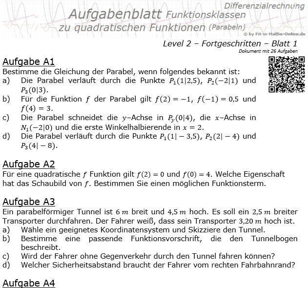 Quadratische Funktionen (Parabeln) Aufgabenblatt 2/1 / © by Fit-in-Mathe-Online.de