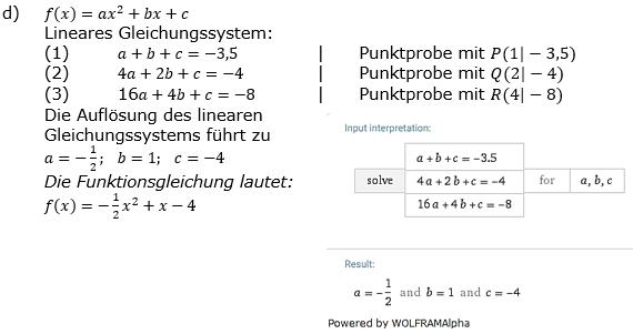 Quadratische Funktionen der Funktionsklassen. Lösungen zum Aufgabensatz 01 Blatt 2/1 Fortgeschritten Bild 4 /© by www.fit-in-mathe-online.de