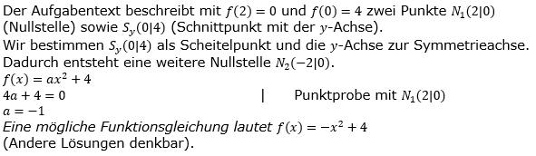 Quadratische Funktionen der Funktionsklassen. Lösungen zum Aufgabensatz 02 Blatt 2/1 Fortgeschritten Bild 1 /© by www.fit-in-mathe-online.de