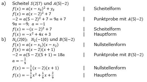 Quadratische Funktionen der Funktionsklassen. Lösungen zum Aufgabensatz 06 Blatt 2/1 Fortgeschritten Bild 1 /© by www.fit-in-mathe-online.de
