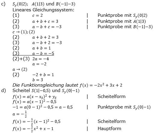 Quadratische Funktionen der Funktionsklassen. Lösungen zum Aufgabensatz 06 Blatt 2/1 Fortgeschritten Bild 2 /© by www.fit-in-mathe-online.de