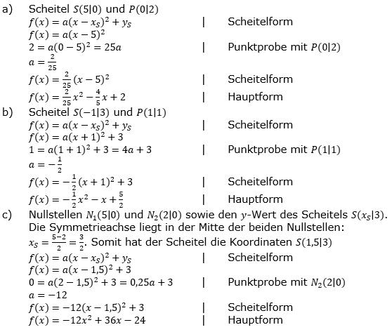 Quadratische Funktionen der Funktionsklassen. Lösungen zum Aufgabensatz 07 Blatt 2/1 Fortgeschritten Bild 1 /© by www.fit-in-mathe-online.de