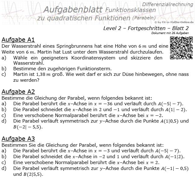 Quadratische Funktionen (Parabeln) Aufgabenblatt 2/2 / © by Fit-in-Mathe-Online.de