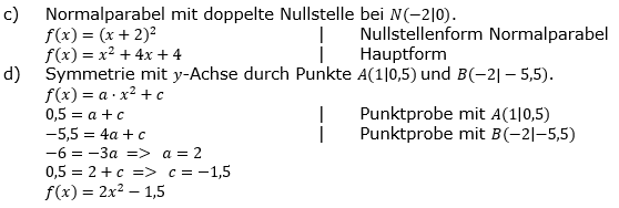 Quadratische Funktionen der Funktionsklassen. Lösungen zum Aufgabensatz 02 Blatt 2/2 Fortgeschritten Bild 2 /© by www.fit-in-mathe-online.de
