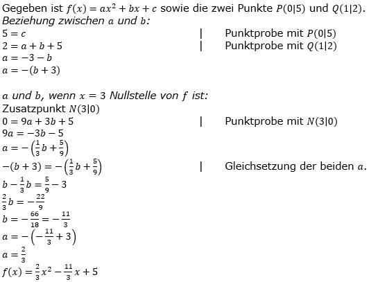 Quadratische Funktionen der Funktionsklassen. Lösungen zum Aufgabensatz 07 Blatt 2/2 Fortgeschritten Bild 1 /© by www.fit-in-mathe-online.de