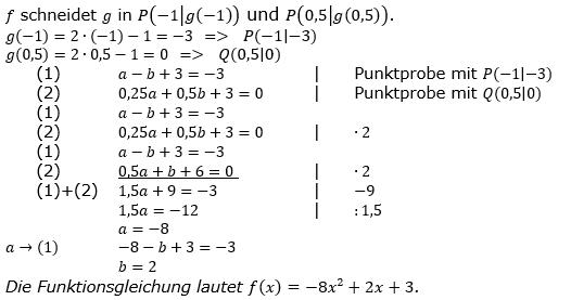 Quadratische Funktionen der Funktionsklassen. Lösungen zum Aufgabensatz 09 Blatt 2/2 Fortgeschritten Bild 1 /© by www.fit-in-mathe-online.de
