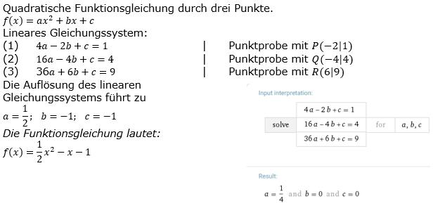 Quadratische Funktionen der Funktionsklassen. Lösungen zum Aufgabensatz 11 Blatt 2/2 Fortgeschritten Bild 1 /© by www.fit-in-mathe-online.de
