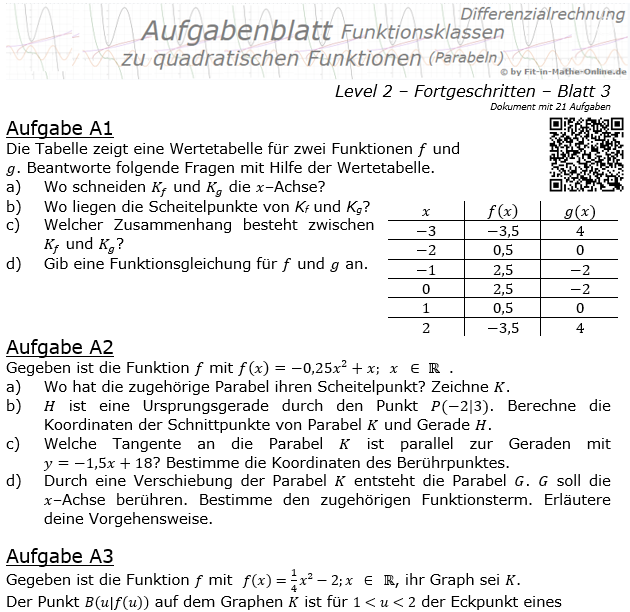 Quadratische Funktionen (Parabeln) Aufgabenblatt 2/3 / © by Fit-in-Mathe-Online.de