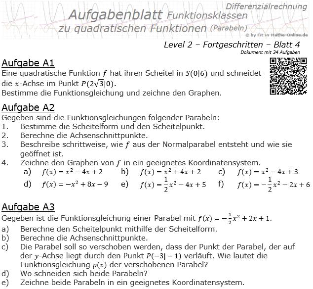 Quadratische Funktionen (Parabeln) Aufgabenblatt 2/4 / © by Fit-in-Mathe-Online.de